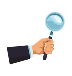 businessman hand with magnifying glass vector image