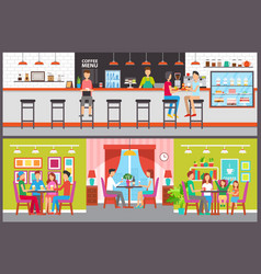 cafe and bar interior design counter and tables vector image