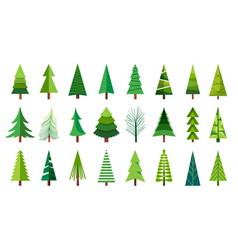 Christmas trees sketch a doodle pine tree hand vector