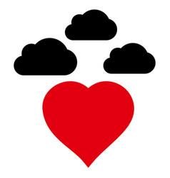 Cloudy love heart icon vector