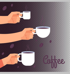 Coffee banner background with hands holding vector