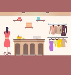 Cozy interior sketch of cute female clothing store vector