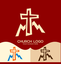 Cross of jesus and mountains vector