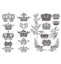 Crowns set or collection in vintage heraldic style vector