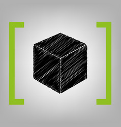 Cube sign black scribble vector