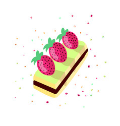 cute cartoon sweet cake vector image
