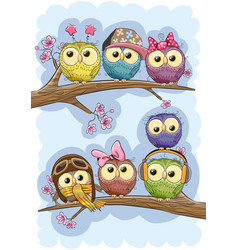 Cute owls is sitting on a branches vector