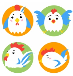 Cute rooster cartoon characters vector