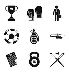Defeat icons set simple style vector