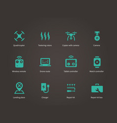 Delivery air drone icons set vector