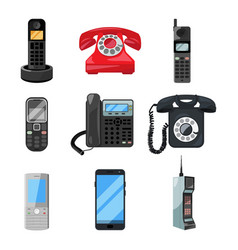 different telephones and smartphones vector image