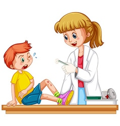 Doctor cleanin up the wound of boy vector image