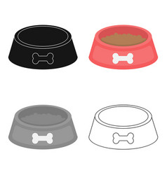 Dog bowl icon in cartoon style for web vector