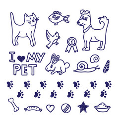 drawing pet collection vector image