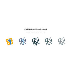 Earthquake and home icon in different style two vector