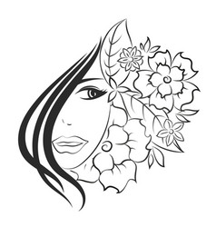 face girl and flowers vector image