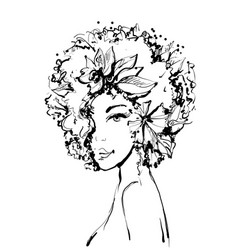Fashion sketch of young beautiful woman with vector