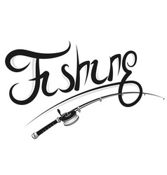 Fishing rod with reel silhouette vector