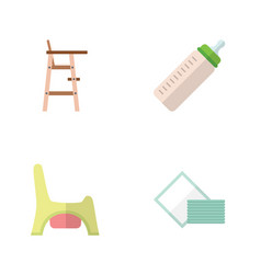 Flat baby set of toilet napkin child chair and vector