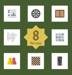 Flat icon games set of guess chess table dice vector