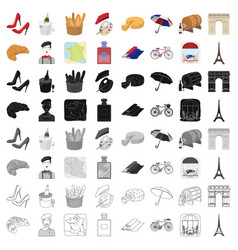 France country set icons in cartoon style big vector