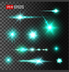 Glittering beam of star light effects design vector