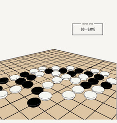 go or weiqi chinese board game sketch vector image
