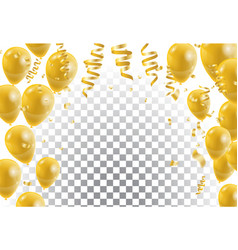 Gold balloons white background vector