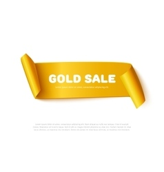 Gold curved paper ribbon banner with rolls and vector