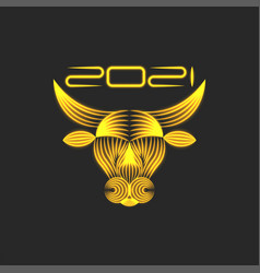golden bull logo symbol 2021 chinese new year vector image