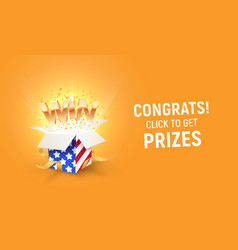 golden win word flying from open box vector image