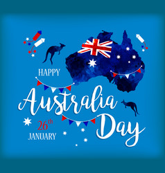 happy australia day lettering map of australia vector image