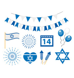Happy israel independence day icons set jewish vector
