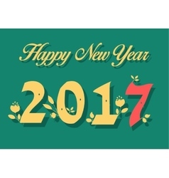 Happy New Year 2017 Numerals with floral decor vector