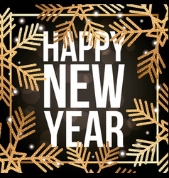 happy new year poster golden snowflake light vector image
