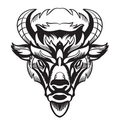 Head mascot bison isolated on white vector