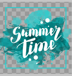 Hello summer turquoise colored hand lettering vector