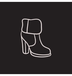 High-heeled ankle boot with fur sketch icon vector image