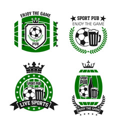Icons for soccer bar or football sport pub vector