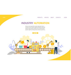 industry automation website landing page vector image