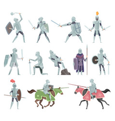 Knights medieval battle armor characters vector