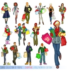 Large collection people with shopping bags vector