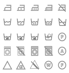 Laundry line icons on white background vector image