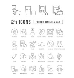 Line icons world diabetes day vector