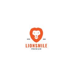 Lion smile head face orange logo design modern vector