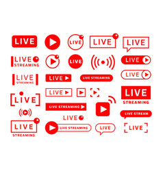 live stream icons video broadcast and translation vector image