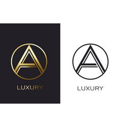 logo a monogram gold letter seal mockup elegant vector image