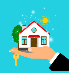 Man hand holding house vector