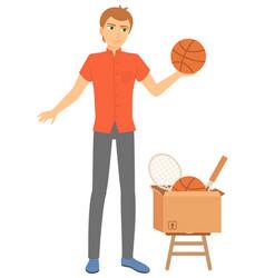 man selling sport items in cardbord box vector image