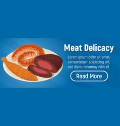 Meat delicacy concept banner isometric style vector